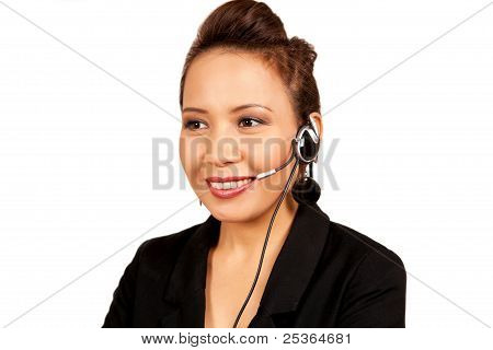 Asian Receptionist With Headset