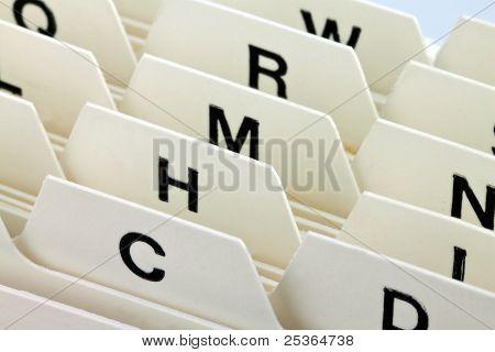 registro de tarjetas de índice