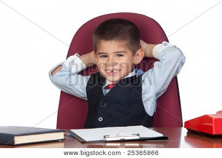 Little businessman relaxed in the office isolated on a over white background