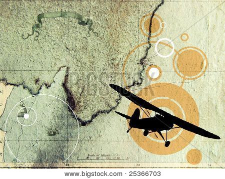 old map and plane silhouette