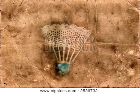 grunge background- shuttlecock with blue stripe for badminton game