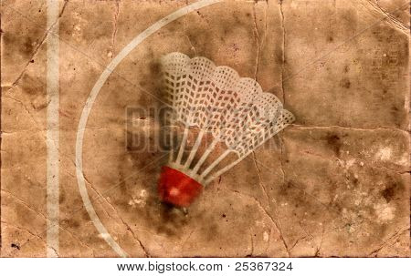 grunge background- shuttlecock with red stripe for badminton game
