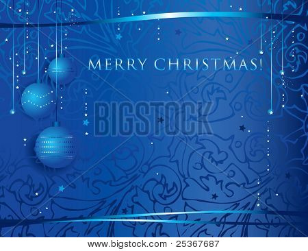 festive christmas background with decorative globes and ribbons on blue