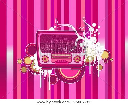 old-fashion pink radio -vector illustration