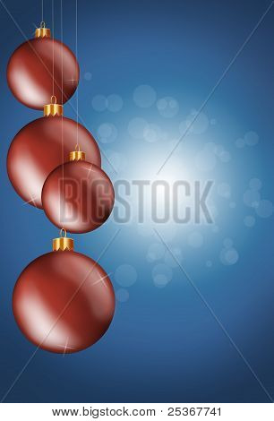 Hanging red christmas baubles on a blue background