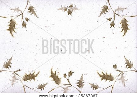 floral decorative illustration painted on spotted paper
