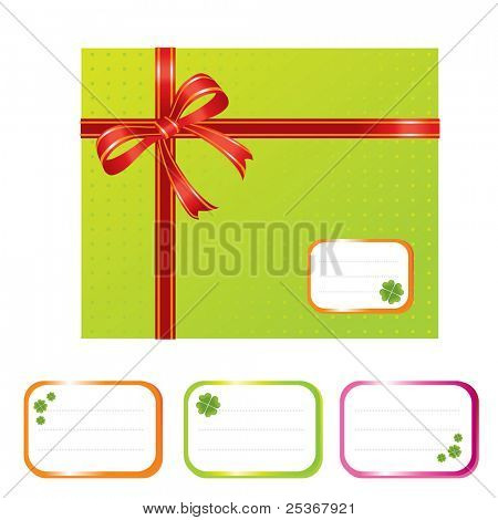 gift box and designation cards with shamrocks - vector illustration