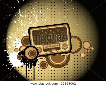 old-fashion retro style radio -vector illustration