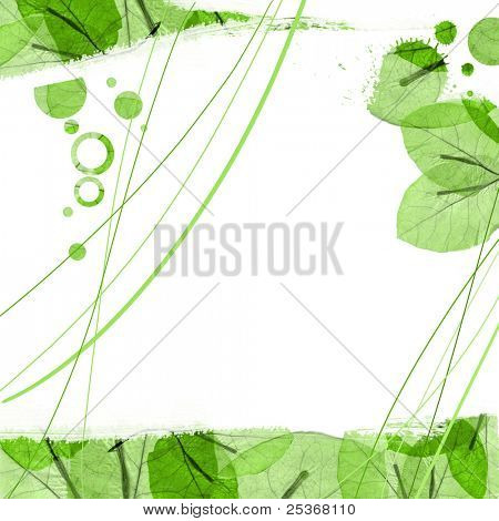 flower petals decorative border with ink stains  on white background