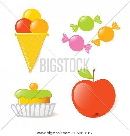Ilustración de vector de caramelos dulces, helado, torta y apple los iconos aislados sobre fondo blanco