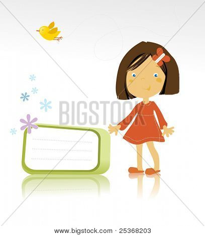vector illustration of a happy little girl standing and a bird on white background