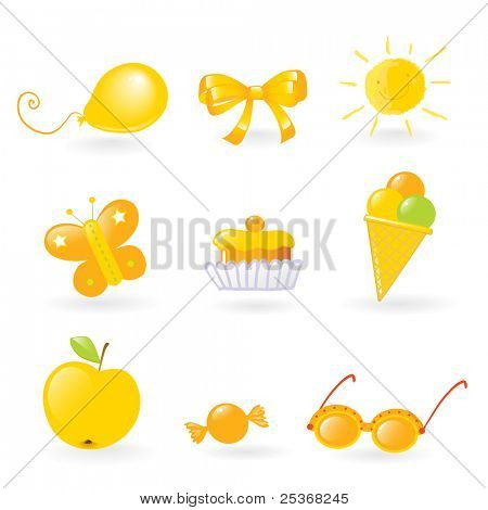 vector clip-art of different yellow colored objects set that kids love isolated on white background
