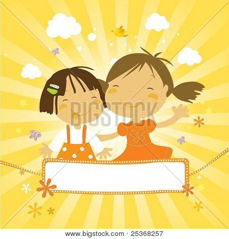 two little cute girls filling happy together in a summer day. And a nice banner for your text.