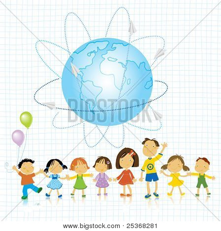 happy kids playing and planet earth vector illustration
