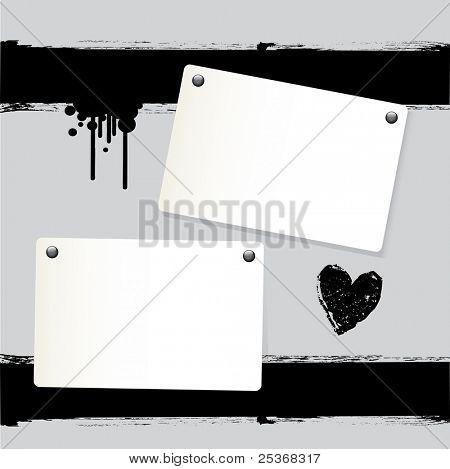 Vektor-Illustration von zwei Anmerkung Papiere und Grunge schwarze Tinte Herzen an der Wand
