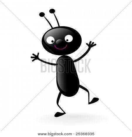 little smiling bug vector illustration isolated on white
