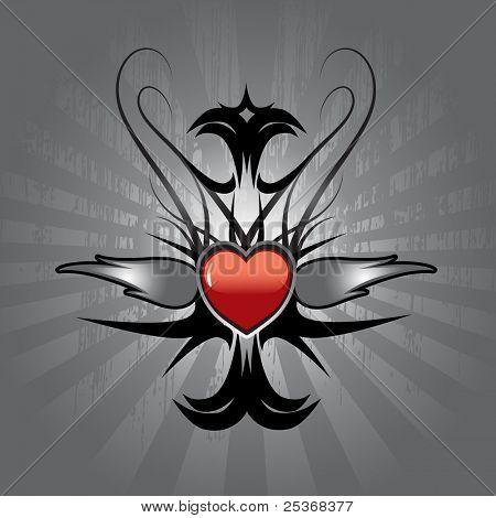 Vektor-Illustration von Tattoo mit roten Herzen und silbernen Flammen auf metallischen Schild