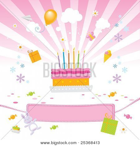 birthday party for girls vector illustration with birthday-cake, presents, candies and a nice pink banner for your text