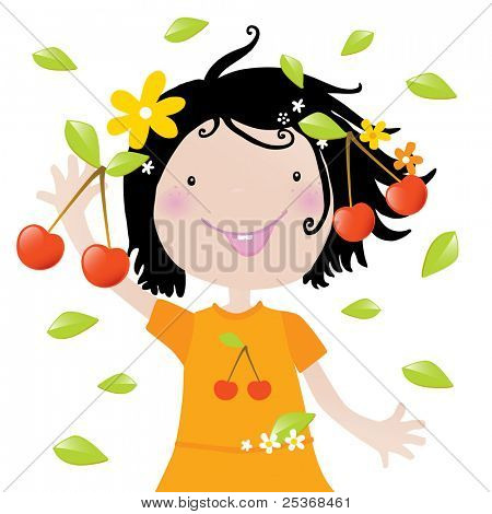 happy little girl with fresh red cherries vector illustration isolated on white background