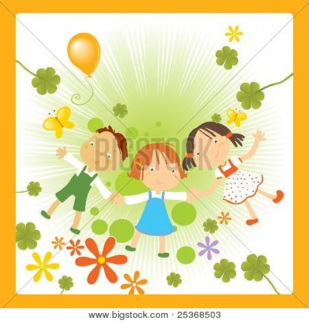 vector illustration of three happy kids holding their hands, enjoying nature flowers and butterflies.