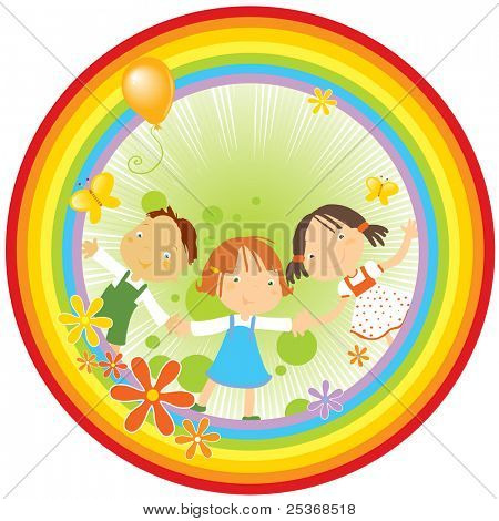 vector illustration of three happy kids holding their hands, flowers and butterflies in a rainbow circle.