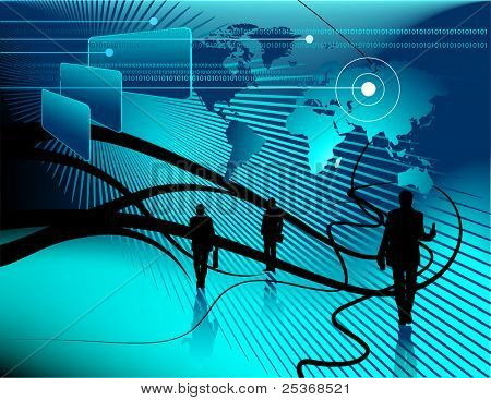 technology abstract background - world-map, business project and binary code on computer display