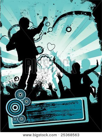 young people having fun at the party. summer season grunge vector illustration with banner for your sample text