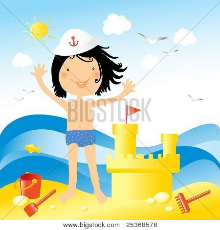 Enjoying holiday at the sea.Vector illustration of a little happy kid playing on the beach with toys and a sand castle
