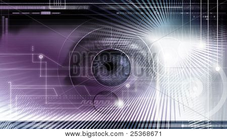 Scientific and hi-tech concept. Computer display with eye being scanned for informations