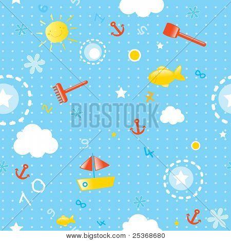 bebê papel de parede - sem costura padrão para temporada de Verão com elementos marinhos (peixes, brinquedos, barcos e smi