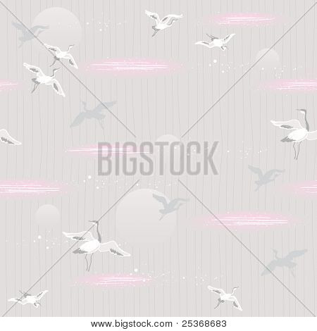 seamless pattern with  flying cranes on light gray background. japanese style inspired vector wallpaper