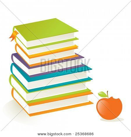 vector illustration of colored books stacked on top of each other and red apple, isolated on white background.