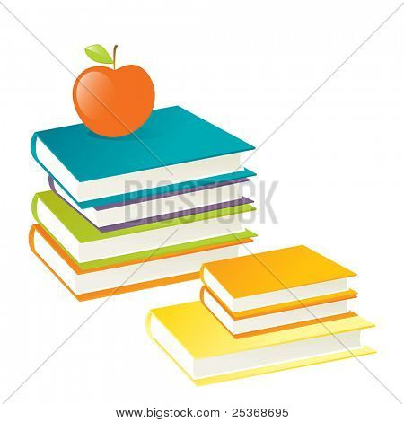 stack of colored books with red apple on top, isolated on white background