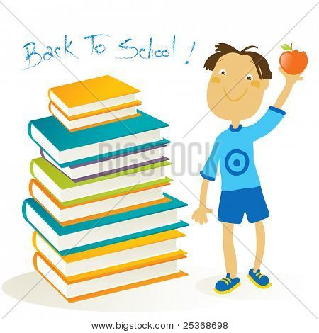back to school- stack of  books and a happy boy with red apple in a hand, isolated on white background, vector illustration