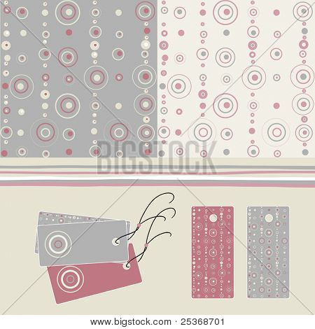 labels and two seamless patterns with circles and dots, soft colors, great for fashion industry