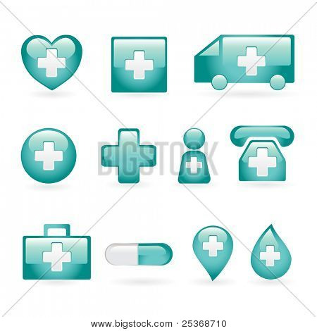 medical icon set on blue isolated on white background, vector illustration