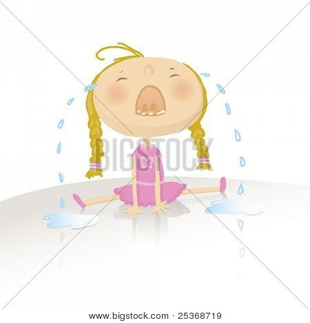 vector illustration of a little baby girl sitting down on the floor, screaming and crying