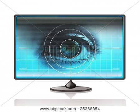 high-tech technology background with targeted eye on computer display for optical research