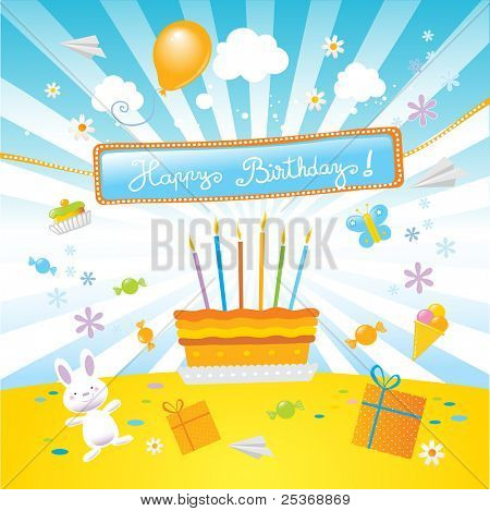 "birthday cake , surprise party and a nice  ""happy birthday!"" banner, vector illustration"