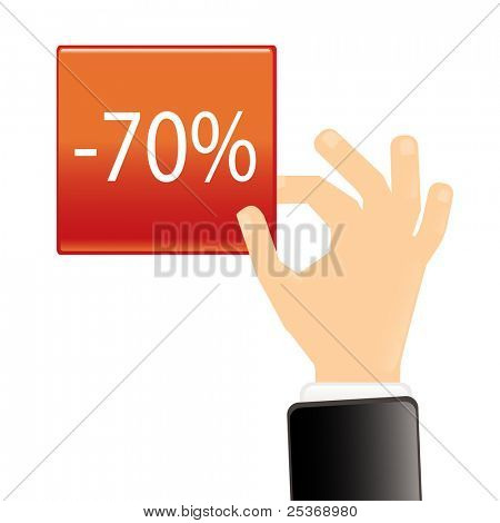 hand with red tag showing symbol of percent, vector illustration.