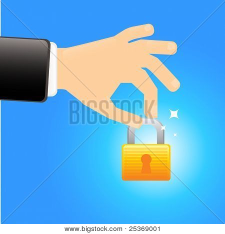Safety first- hand holding a lock vector illustration isolated on blue background. Security concept.
