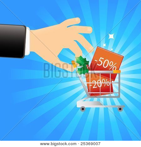 Cost reduction Christmas season- hand holding a shopping cart with promotional prices, vector illustration.