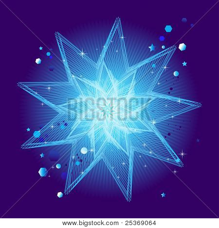 vector illustration of crystal star on blue background with light rays and burst of stars
