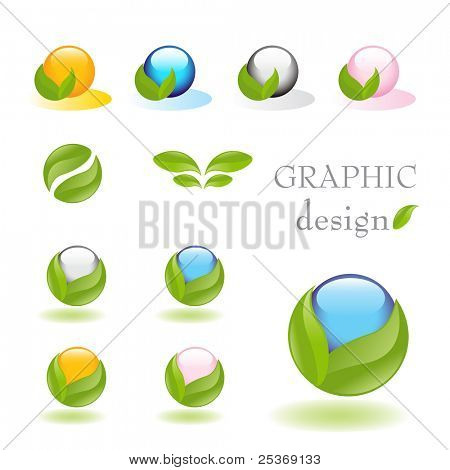 Alternative medicine vector icon set with nature inspired elements and soft reflection on white floor