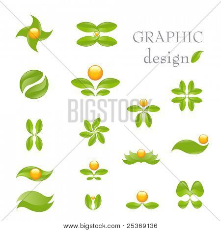 Natur-Vektor Icon-Set isolated on White. Alternative Medizin und Ökologie ausgerichtet