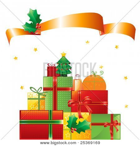 stack of Christmas presents and ornaments on shiny background, vector illustration