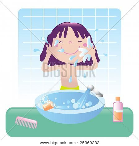 cute girl washing her face in bathroom, vector illustration. Educational series- see more in my portfolio