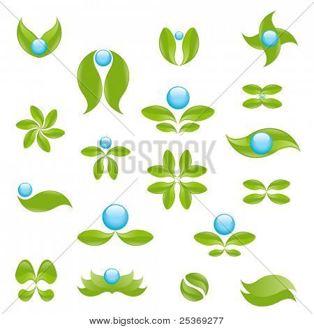 vector graphic design set with nature elements isolated on white. Ecology targeted