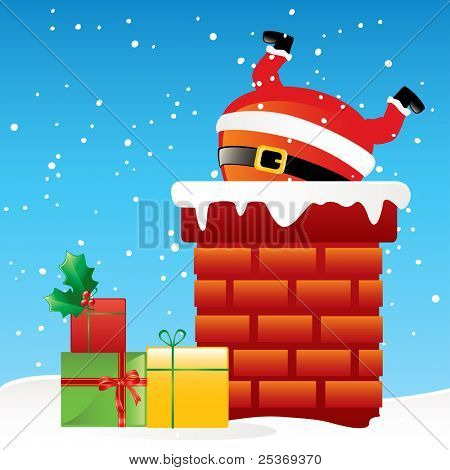funny Santa Claus stuck in the chimney on the roof, cartoon vector illustration
