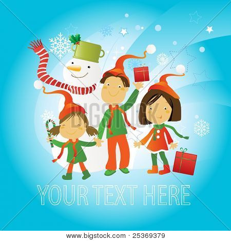 Greetings card design, happy kids with snowman on winter background. Copy space for your text.
